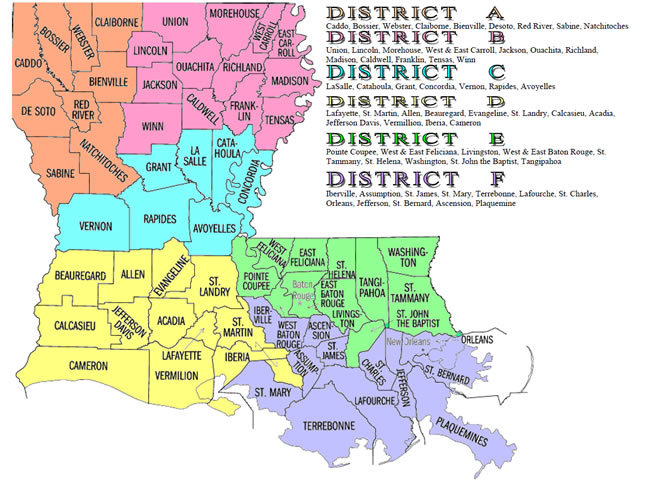 Louisiana Color Coded District Map